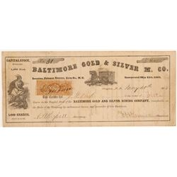 Baltimore Gold & Silver Mining Company Stock Certificate  106995