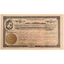 Palmetto & Death Valley Gold Mining Company Stock Certificate (office in Goldfield)  105905