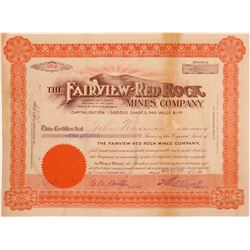Fairview-Red Rock Mines Company Stock Certificate  106952