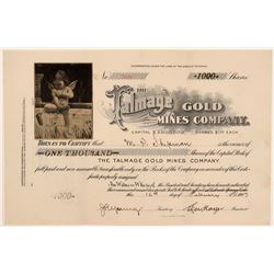 Talmage Gold Mines Company Stock Certificate with a Very Unique Vignette  105879
