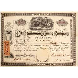 Rare 1860's Hot Creek Stock: Old Dominion MC  99845