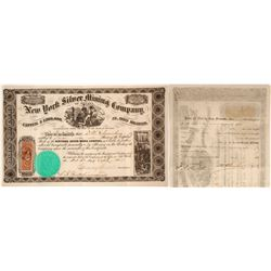 New York Silver Mining Co. of Nevada Stock Certificate, 1865  60643