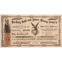 Harding Gold & Silver Mining Company Stock Certificate  106998