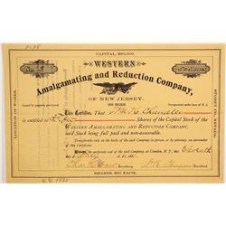 Western Amalgamating and Reduction Co of New Jersey Stock  90609