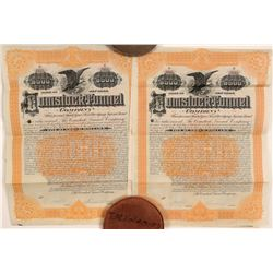 Two Comstock Tunnel Bonds signed by Theodore Sutro (son)  105773