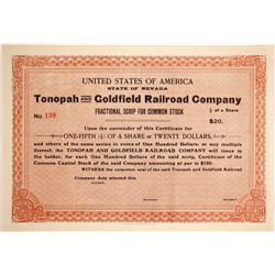 Tonopah and Goldfield Railroad Stock  89959