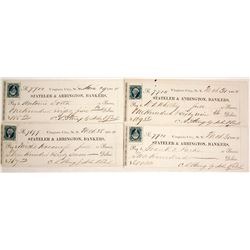 Four Virginia City, Nevada Territory Checks signed by President John Earl  77522