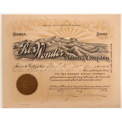 RARE Rex Wonder Mining Company Stock  105884