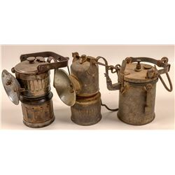 "Carbide Miners Lamps /  "" Superintendent's "" / 3 Items  109581"