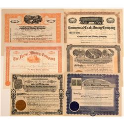 Six Different Pennsylvania Mining Stock Certificates  106764