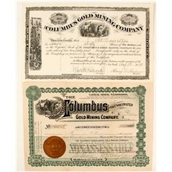 Two Different Columbus Gold Mining Co. Stock Certificates, Black Hills, Dakota  59043