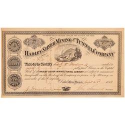 Hadley Silver Mining & Tunnel Company Stock Certificate  107429