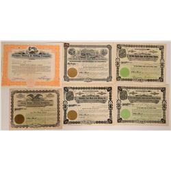 Six Washington Mining Stock Certificates  107584