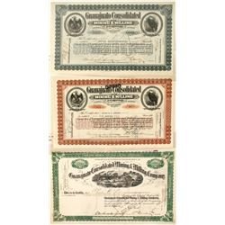 Three Different Guanajuato Cons. Mining & Milling Co. Stock Certificates  58472