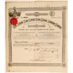 Great San Anton Gold Mining Company, Ltd. Stock Certificate  107427