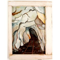 Framed Mine Shaft Painting  87445