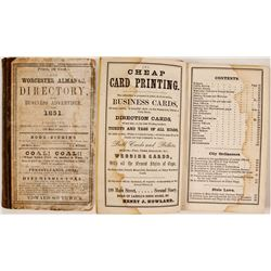 The Worchester Almanac, Directory, and Business Advertiser for 1851  82811