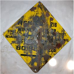 State of Nevada Department of Highways Vintage Road Sign,  Yellow and Black Diamond  108307