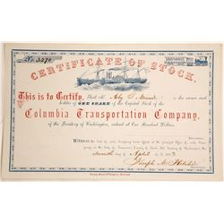 Columbia Transportation Company Stock Certificate, Washington Territory, 1863  60115
