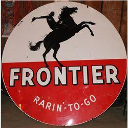 "Frontier Gasoline ""Rarin'-To-Go"" Large (6 foot)  Enamel  Cowboy Sign - Rare!  108313"