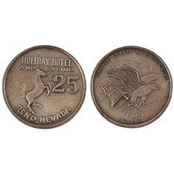 Rare Holiday Casino $25 Reno, NV Silver Token  59750