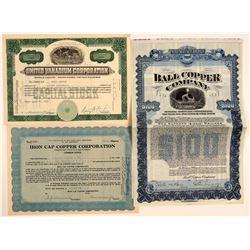 Three Christmas, Arizona Mining Stock Certificates  106745