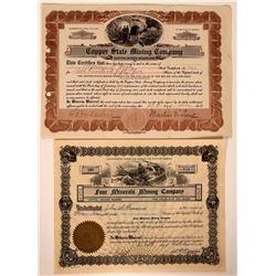 Two Different Copper Creek, Arizona Mining Stock Certificates  107475