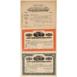 Jerome Victor Extension Copper Co. Stock Certificate Trio  106814