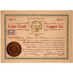 Lime Creek Copper Company Stock Certificate  107559