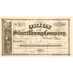 Orion Silver Mining Company Stock Certificate  60676