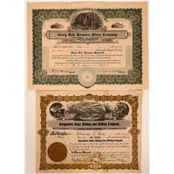 Two Different Salome, Arizona Mining Stock Certificates  107473