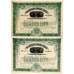 Interior Mining Trust Co. Stock Certificate Pair  106717