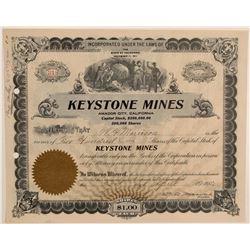 Keystone Mines Stock Certificate  106803