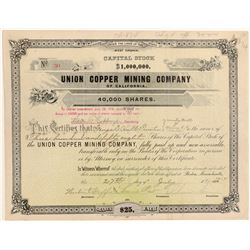 Union Copper Mining Company Stock Certificate  106808