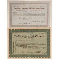 Two Different Hodson, Calaveras County Mining Stock Certificates  106790
