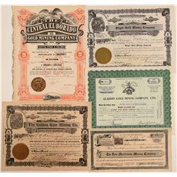 El Dorado County Mining Stock Certificates (5)  105901