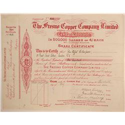 Fresno Copper Company, Ltd., Stock Certificate  106668