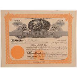 Erma Mining Company Stock Certificate  106785