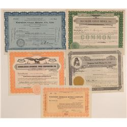 Five Different Grass Valley Mining Stock Certificates  106786