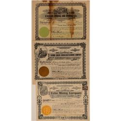 Three Different Kern County Mining Stock Certificates  106671
