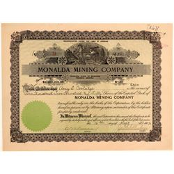 Monalda Mining Company Stock Certificate  106702