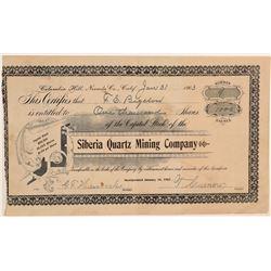 Siberia Quartz Mining Company Stock Certificate  106784