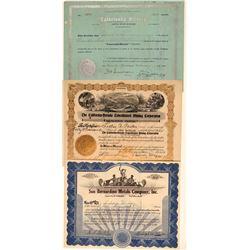 3 Different San Bernardino County Mining Stock Certificates  106705