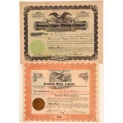 Two San Bernardino County Copper Mining Stock Certificates  106706