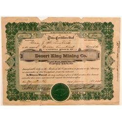 Desert King Mining Company Stock Certificate  106710