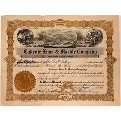Caliente Lime & Marble Company Stock Certificate  107541