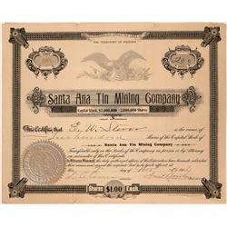 Santa Ana Tin Mining Company Stock Certificate  107610
