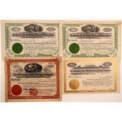 Four Cripple Creek Mining Stock Certificates  106766
