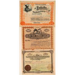 Three Different Colorado Mining Stock Certificates  106848
