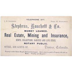 c.1890s Denver Business Card for Mining Agent  63083
